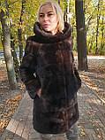 Жіноча норкова шуба з капюшоном в кольорі махагон (коричнева) розміри норма, фото 3