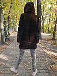 Жіноча норкова шуба з капюшоном в кольорі махагон (коричнева) розміри норма, фото 4