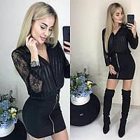 Женская черная мини-юбка с молнией