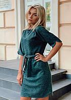 Зеленое ангоровое платье под пояс
