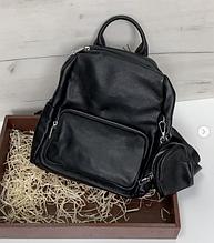Рюкзак в комплекте косметичка / натуральная кожа (кт-2803) Черный