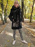 Черная норковая шуба с капюшоном, фото 3