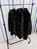Черная норковая шуба с капюшоном, фото 6