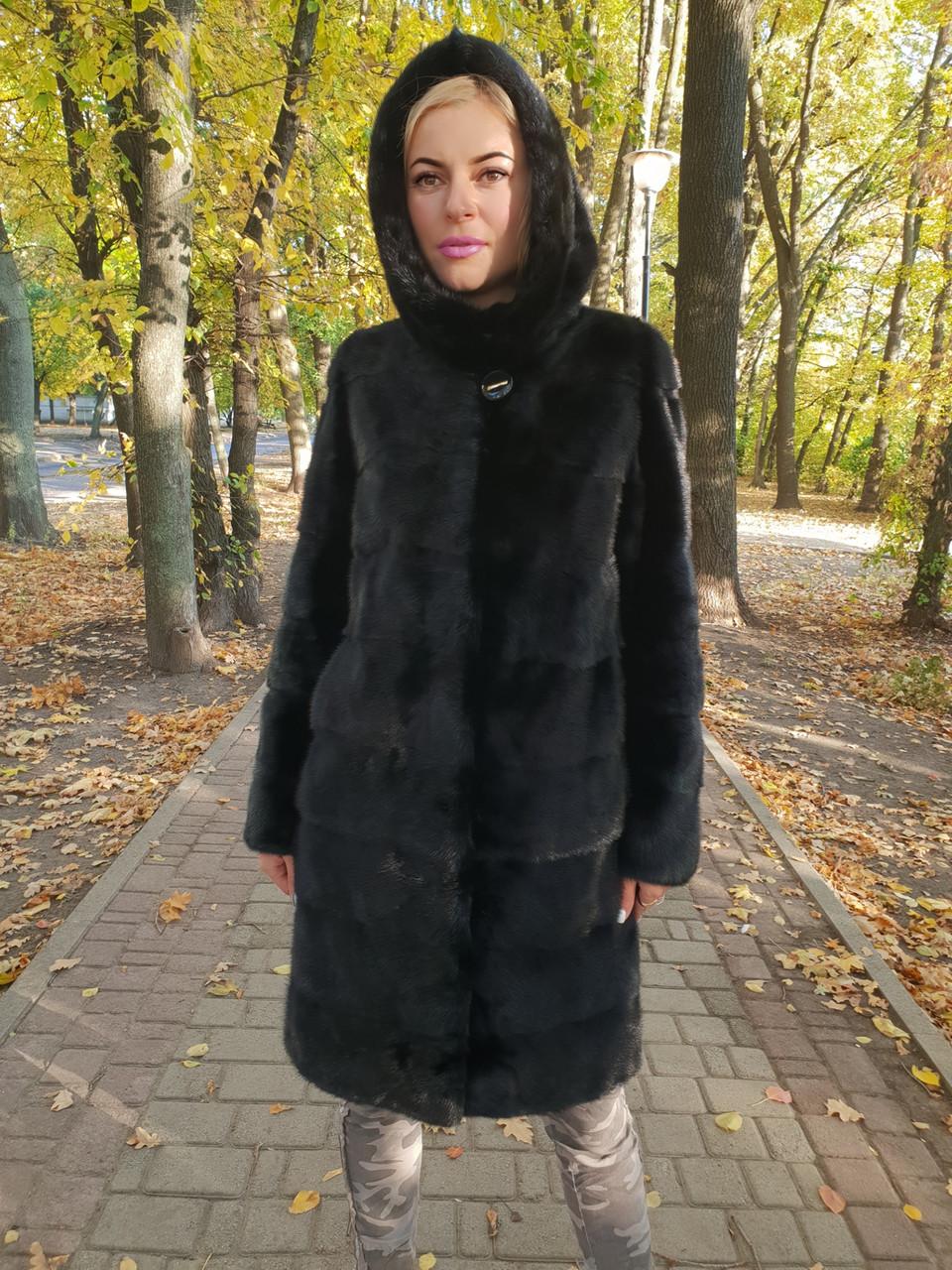 Черная норковая шуба с капюшоном длина 100 см