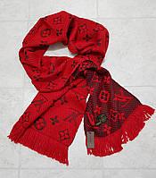Женский шарф теплый вязка реплика Louis Vuitton осень-зима 60% шерсть 40% акрил размер 180×32 см цвет красный