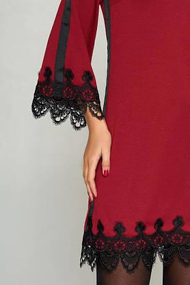 Нарядное платье трапеция короткое с кружевом бордовое, фото 3