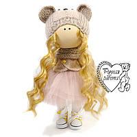 Текстильна лялька, середня, ручна робота. Лялька сніжку. Лялька тільда.
