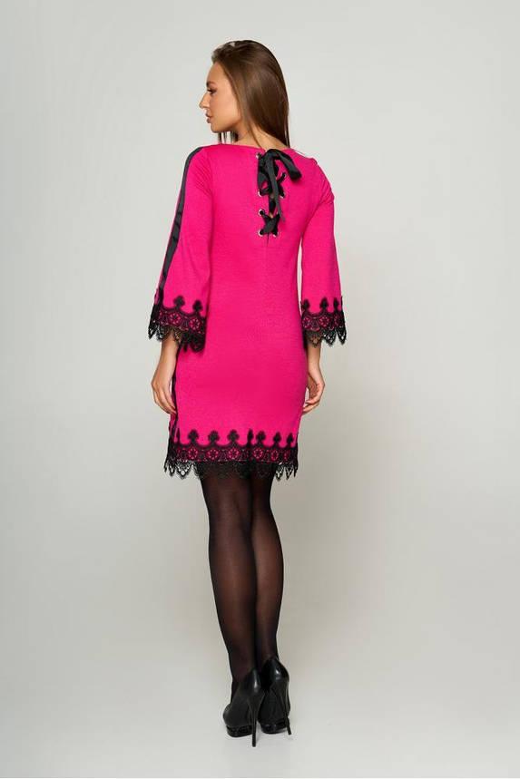 Нарядное платье трапеция короткое с кружевом розовое, фото 2