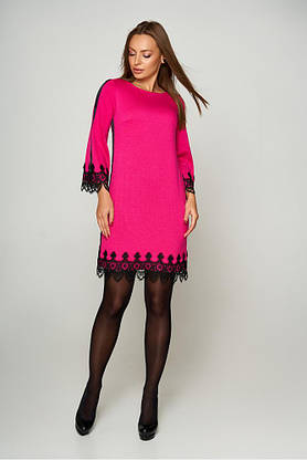 Нарядное платье трапеция короткое с кружевом розовое, фото 3