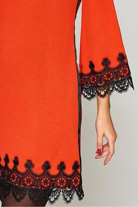 Нарядное платье трапеция короткое с кружевом, фото 2