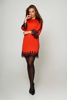 Нарядное платье трапеция короткое с кружевом, фото 3