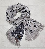 Женский шарф теплый вязка реплика Louis Vuitton осень-зима 60% шерсть 40% акрил размер 180×32 см цвет серый