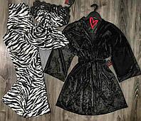 Велюровая пижама с зебровый принтом майка+штаны и черный халат-комплект.