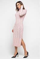 Теплое пудровое женское вязаное платье с разрезом, размер 42–48