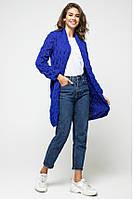 Женский вязаный длинный синий кардиган с длинными рукавами, Лало, размер 42-52