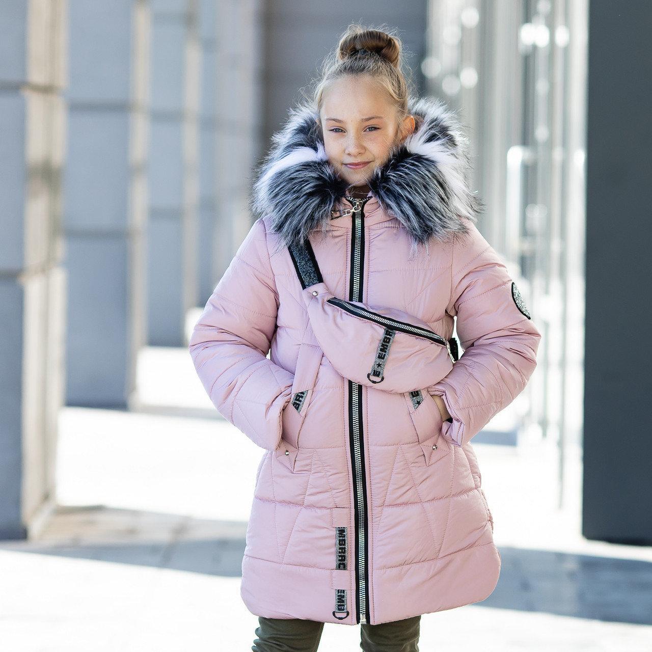 """Зимняя стеганная курточка для девочки+сумочка""""Модница"""""""