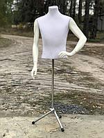 Белый пенопластовый мужской торс манекен Италия б/у с гипсовыми руками на хромированной ножке, фото 1