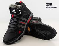 Кроссовки ботинки черные мужские кожаные зимние Adidas 238 чёрно-серо-красная, чоботи чоловічі