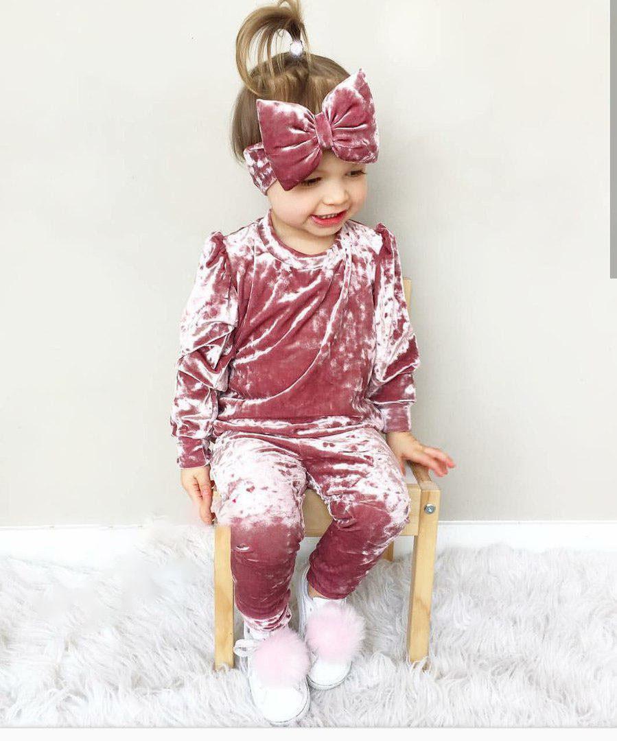 Детский велюровый костюм + повязка с милым бантом