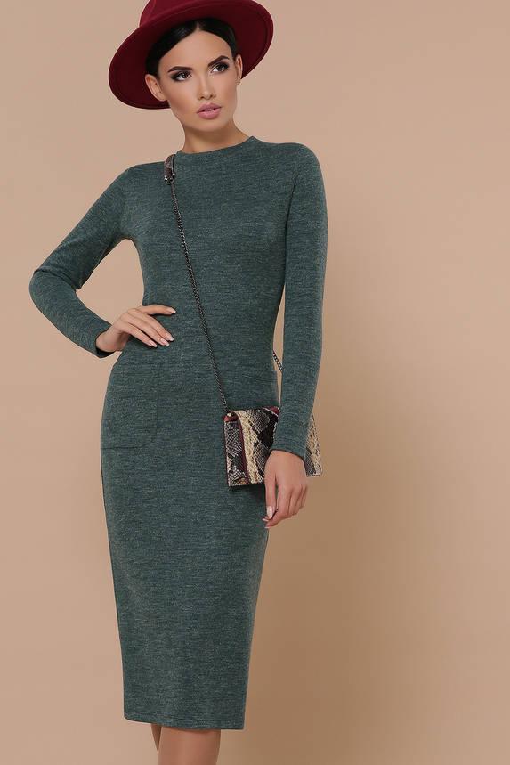 Теплое трикотажное платье из ангоры зеленое, фото 2