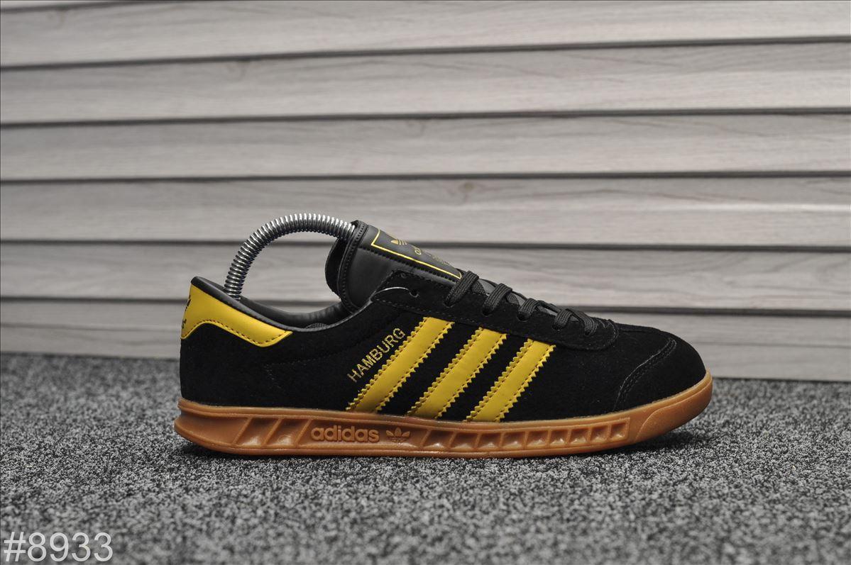 Мужские кроссовки Adidas Hamburg Black Yellow,Реплика