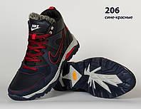 Кожаные мужские зимние кроссовки ботинки Nike красные, шкіряні чоловічі чоботи, спортивные ботинки