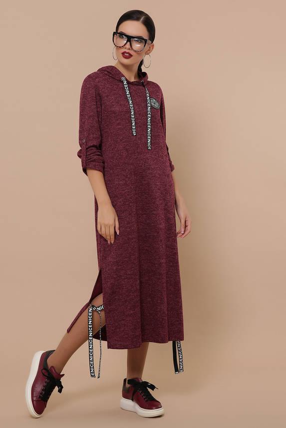 Теплое трикотажное платье из ангоры с капюшоном бордо, фото 2
