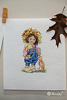 """Набор для вышивания крестом """"Осенний девочка"""" Мережка"""