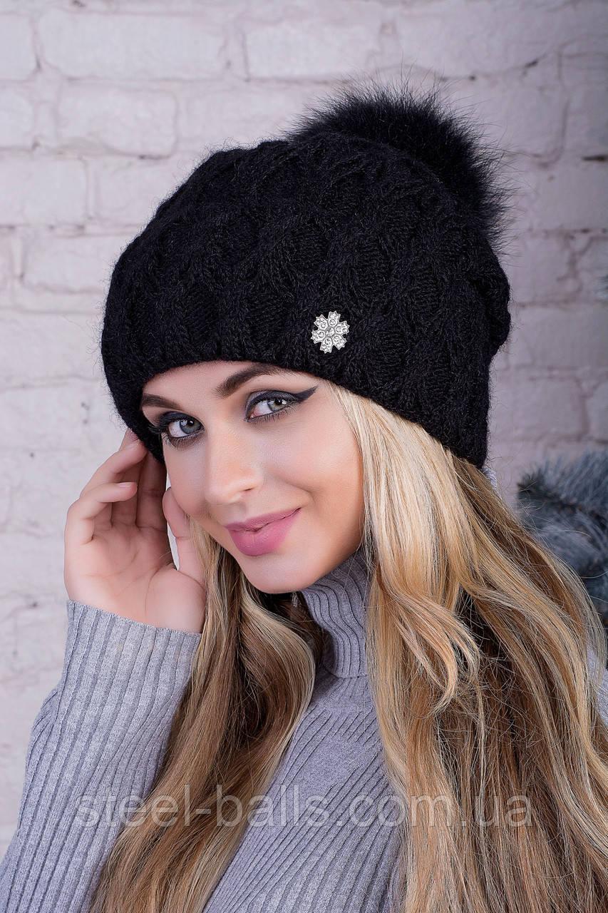 Женская шапка c помпоном. (цвета на выбор)