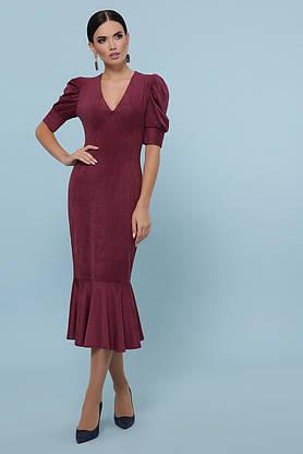 Красивое замшевое платье футляр бордовое, фото 2