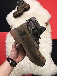 Мужские ботинкиTimberland Military демисезонные (коричневый)