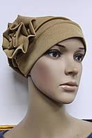 Модная шапка чалма бежевая с тканевым цветком