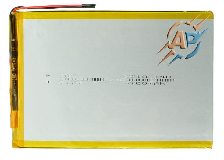 Аккумулятор литий-полимерный 5200mAh, 3.7v, 25100145, для планшетов