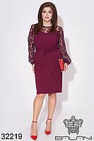 Платье бордовое с сеткой на рукавах (размеры 48-50, 52-54)