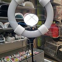Кольцевая лампа led косметологическая на штативе с зеркалом и креплением для телефона R-48B