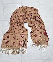Женский палантин реплика Louis Vuitton осень-зима кашемир размер 200×65 см цвет мокко с бордо