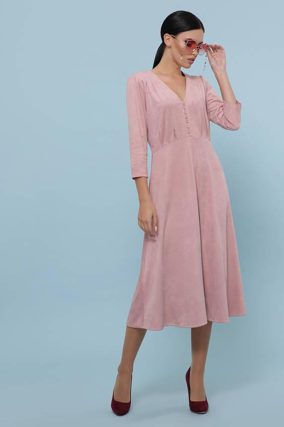Красивое замшевое платье-миди цвета пудра, фото 2