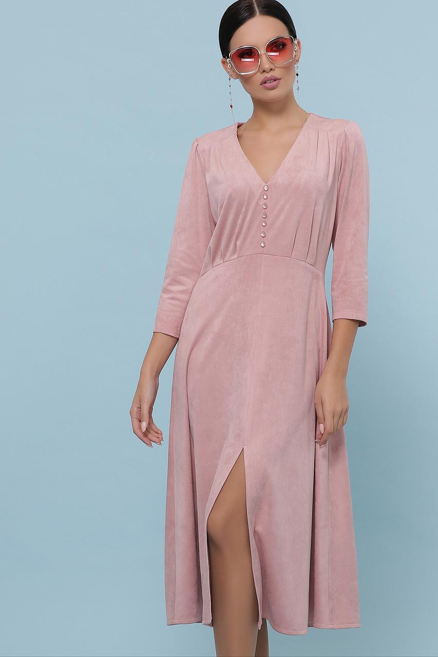 Красивое замшевое платье-миди цвета пудра
