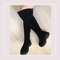 Женские кожаные сапоги ботфорты толстая подошва Kal замша (36-40), фото 1