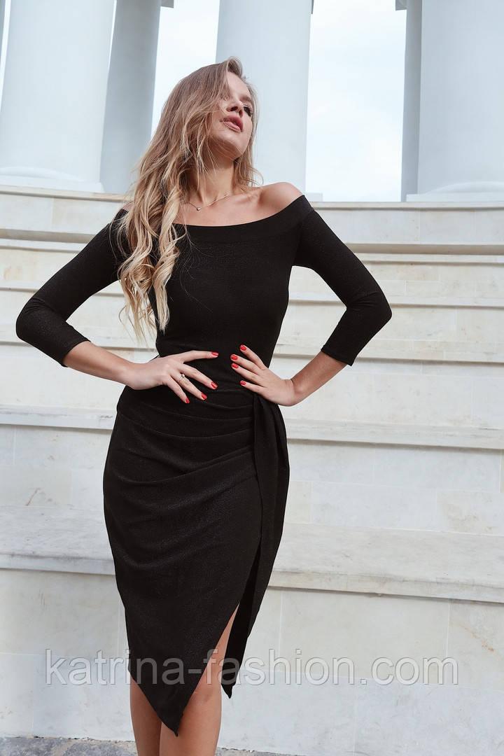 Женское платье с люрексом с плиссировкой (в расцветках)