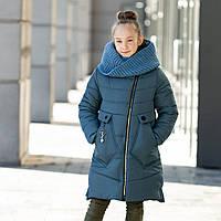 """Стильное зимнее пальто для девочки""""Шарф"""", фото 1"""