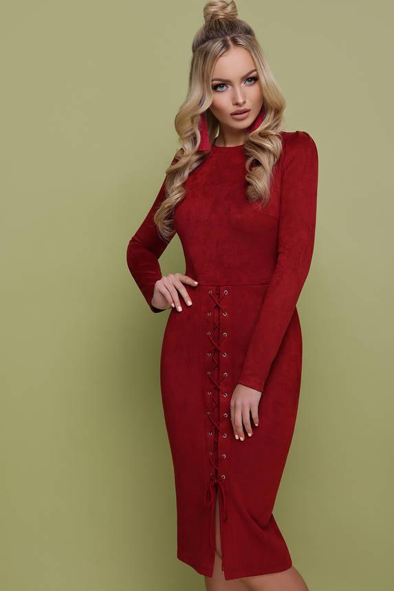 Красивое замшевое платье футляр бордового цвета, фото 2