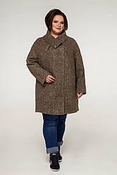 Пальто женское демисезонное В-1208 Art.6484 Teddy Bouclet Тон 1018 | 54-68р. 80% шерсти