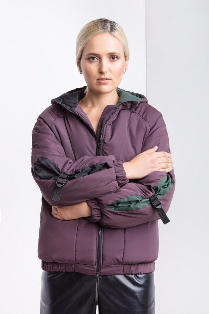 Женская фиолетовая куртка деми плащовка осень зима 2019-2020 Woman Jaket Jeans Violet S