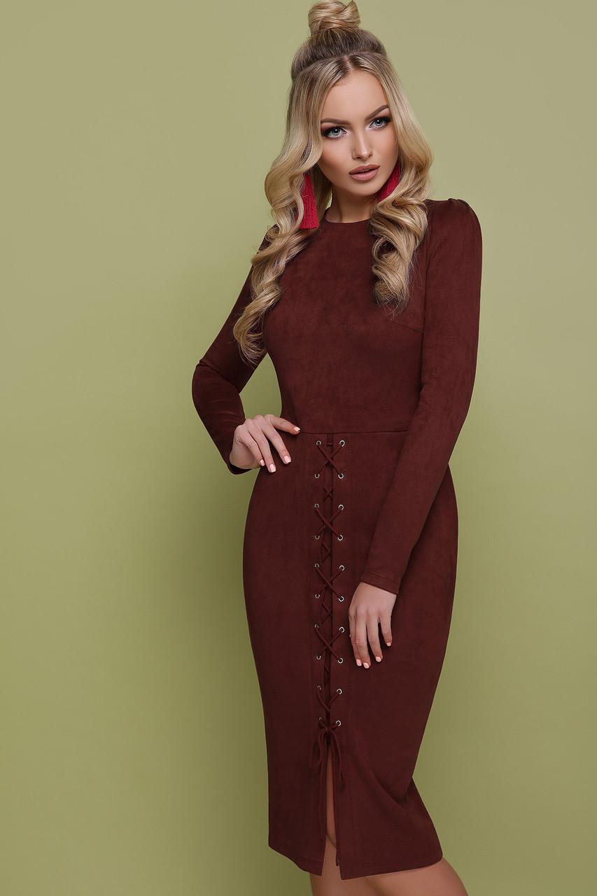 Красивое замшевое платье футляр коричневого цвета