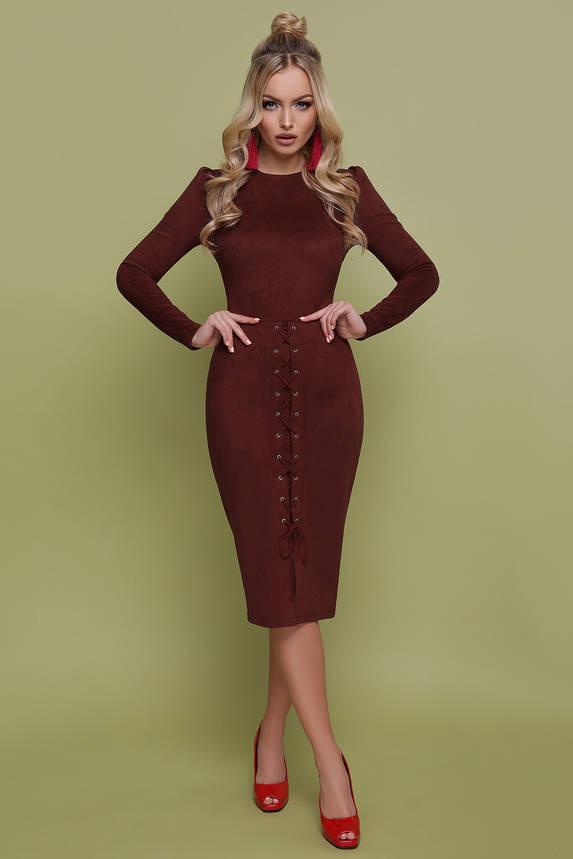 Красивое замшевое платье футляр коричневого цвета, фото 2