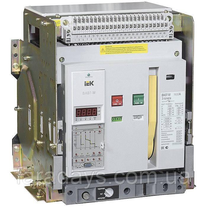 Автоматичний вимикач 3р, 1250A, 80kA (ВА07-М IEK) з комбінованим розчіплювачем, висувне виконання