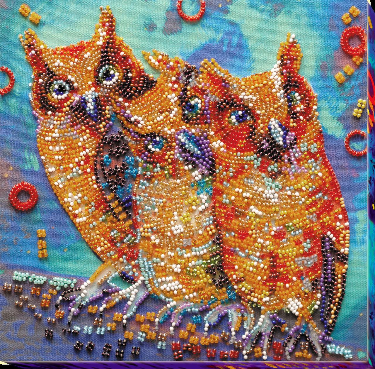 Набор-миди для вышивки бисером Веселая троица (20 х 20 см) Абрис Арт AMB-054