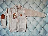 Кофта мальчику вязаная с карманами, р. 5-6, 8-9 лет
