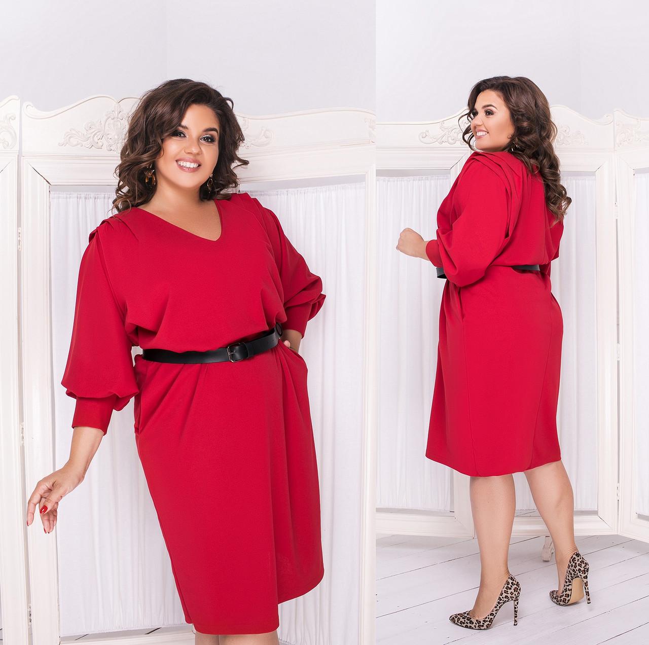 Женское платье большого размера c рукавом на манжете.Размеры:48-58.+Цвета